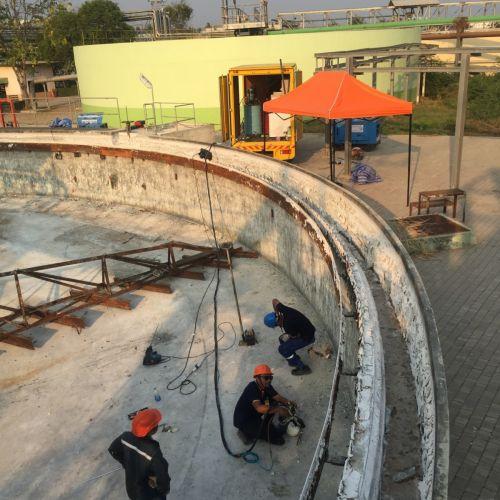 งานยกปรับระดับพื้นคอนกรีต ถังน้ำคอนกรีตขนาด 30 เมตร โรงงานผลิตเยื่อกระดาษ บ้านโป่ง