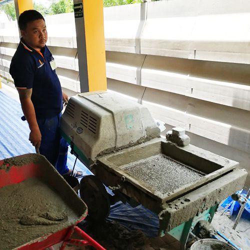งานเกร้าท์ซีเมนต์มวลเบา ปิดอุดโพรงใต้พื้นคอนกรีต โรงแรมในจังหวัดหัวหิน