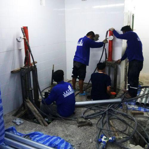 งานเสริมเสาเข็ม แก้ปัญหาโครงสร้างทรุดตัว อาคารห้องนิรภัย